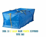 (Ship from USA) NEW IKEA 10 X LARGE BLUE FRAKTA ZIPPERED TOTE STORAGE LAUNDRY BAG