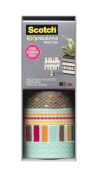 Scotch Expressions Washi Tape, Multi-Pack with Storage Box, Diamonds, Dots, Lines, 4 Rolls
