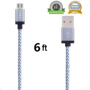 NOKEA 1.8m Extra Long Nylon Braided Micro USB Cable High Speed USB 2.0 A Male to Micro B Sync and Charging Cord Wire Universal for Samsung, HTC, Motorola, Nokia, Android, and More