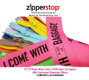 Zipperstop Wholesale YKK®- 36cm 15 Pieces Mixed Colours Nylon Coil Zippers with Customised Zipperstop Ribbon - Tailor Sewer Craft 36cm Crafter's Special YKK® #3 Skirt & Dress Zippers Made in USA