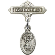 Sterling Silver Baby Badge with St. Christopher Charm and Godchild Badge Pin 2.2cm X 1.6cm