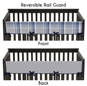 Baby Crib Long Rail Guard Cover for Navy Blue and Grey Plaid Boys Bedding Collection