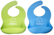Waterproof Silicone Bib with Snaps & Crumb Catcher by Babiére. Infant & Toddler Bibs for Boys & Girls. Stain-Resistant, Easily Wipes Clean & Fast Drying. Soft Feeding Bibs
