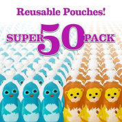 Squooshi Reusable Food Pouches | 50 Small Pouches + 50 Caps