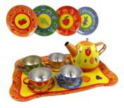 Fruit Garden Tin Tea Party Set for Kids - Metal Teapot and Cups Kitchen Playset, Model