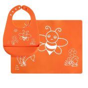 Silicone Placemat and Bib with Pocket Set for Baby, Kids - Food Grade, Reusable, Orange Bee