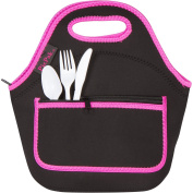 Neoprene Lunch Bag (Black, Pink) - Reusable Lunch Tote