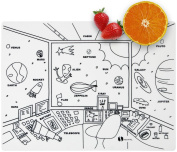 Kids Placemat silicone colouring non slip educational washable reusable dishwasher-safe BPA-free placemats - Space : by HEXATAL