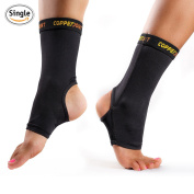 CopperJoint Compression Ankle Sleeve #1 Plantar Fasciitis Sock - GUARANTEED Recovery Brace - Copper Infused Arch Support, Wear Anywhere - Single