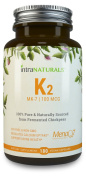 Vitamin K2 MK-7 - Natural MenaQ7 from Fermented Chickpeas - Supports Healthy Bones, Heart, Arteries & More - 3rd Party Tested to Guarantee Quality - Vegan Capsules, 100% Pure, Non-GMO | IntraNaturals