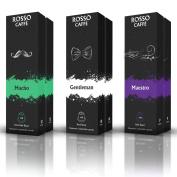 Nespresso Compatible Capsules - Extra Dark Roast Pack (60 Pods) - Fit to All Nespresso Original Line Machine - By Rosso Caffe - 60 Days Satisfaction Guarantee