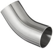 Dixon B2KS-R250P Stainless Steel 316L Sanitary Fitting, 45 Degree Polished Weld Long Elbow with Tangent, 5.1cm - 1.3cm Tube OD