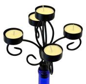 Southern Homewares Wine Bottle Topper 5 Tea Light Holder with Candles Candelabra, Multicolor