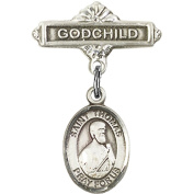Sterling Silver Baby Badge with St. Thomas the Apostle Charm and Godchild Badge Pin 2.5cm X 1.6cm
