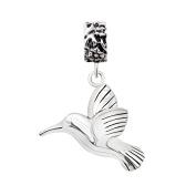 925 Sterling Silver Cute Hummingbird Dangle Bead Charm Fits Pandora Bracelet