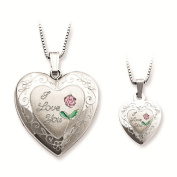 Sterling Silver Polished & Satin Finish I Love You Inscribed Rose Flower Heart Locket Pendant Necklace Set