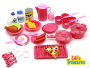 Little Treasures 40 Pcs MINI SIZED Toy Cooking Pretend Play Food Set