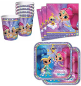Tableware Kit for 16 Shimmer and Shine Birthday Party Supplies Plates, Napkins, Cups