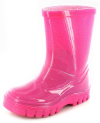 Girls Pvc Glittery Wellington Boots Made From Glitter Material A Contrast Darker Pink Sole - Pink Glitter - UK SIZES 4-12