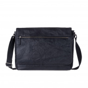 Mens Messenger bag in real wrinkled leather Work Laptop Shoulder Briefcase DUDU Black