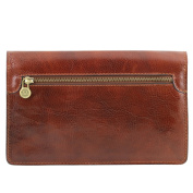 Tuscany Leather Arthur - Exclusive leather handy wrist bag for man Dark Brown Leather bags for men