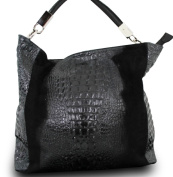 Made In Italy Luxury Alligator Stamp Nubuck Genuine Leather Women's Shoulder Bag Black