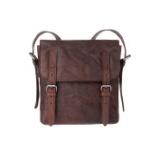 Mens Wrinkled Leather bag Cross Body Shoulder strap for Office & Travel bag with flap DUDU Brown