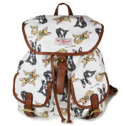 Girls Cute Puppy dog Dog Print Canvas Backpack Rucksack School College University Bag