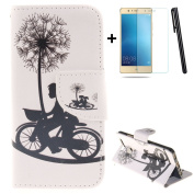 Huawei P9 wallet Case,Huawei P9 flip Case,Tebeyy Romantic Lover Dandelions Printing Drawing Design Pattern PU Leather Wallet Case Credit Card Holder Slot Protective with Stand Function Case Cover for Huawei P9 + 1x Screen Protector +1x Stylus Pen