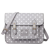 Miss LuLu Ladies Designer Polka Dot PU Satchel Messenger Shoulder Bags Fashion Women Handbags Grey