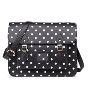 Miss LuLu Ladies Designer Polka Dot PU Satchel Messenger Shoulder Bags Fashion Women Handbags Black