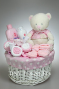 Baby Girl Hamper Gift Basket with Clothes Bouquet and cute Teddy Baby Shower Present