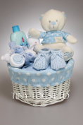 Baby Boy Hamper Gift Basket with Clothes Bouquet and cute Teddy Baby Shower Present