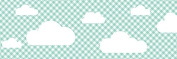 lovely label border, self-adhesive, 450 x 11.5 cm, cloud design mint/chequered