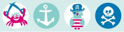 lovely label border, self-adhesive, 450 x 11.5 cm, pirates, ship, shark and skull design mint/pink