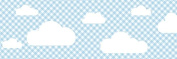 lovely label border, self-adhesive, 450 x 11.5 cm, cloud design blue/chequered