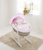 Pink Spots & Stripes Palm Moses Basket & Deluxe White Rocking Stand