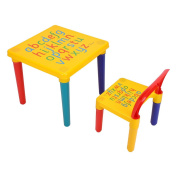 Kids Detachable Table and Chair Set, Childrens Alphabet Design Furniture Set Bedroom Play Room Table Chair with Creative Activity Set