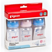 Pigeon Milk Bottle Baby Model RPP 120ml Size S for New Born Classic Silicone Nipple BPA Free Pack of 3 Bottle.