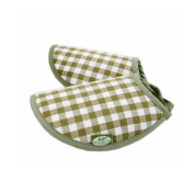 Ramie Breathable Green Grid Bottle Feeding Mat Nursing Pad for Baby