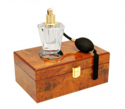 Glass Atomiser with Polished Wooden Display Presenation Box (Design 2