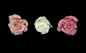 **NEW** X3 LARGE NUDE CREAM AND WILD ROSE PASTEL FABRIC ROSE ON FORK HAIR CLIP - ACCESSORIES WEDDINGS 50s BURLESQUE