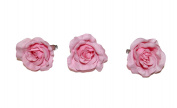 **NEW** X3 LARGE BABY PINK PASTEL FABRIC ROSE ON FORK HAIR CLIP - ACCESSORIES WEDDINGS 50s BURLESQUE