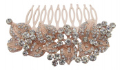 Pick A Gem Wedding Hair Accessories Vintage Rose Gold Diamante Crystal Embellished Hair Comb / Bridal Comb