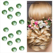 "Jewels kit ""Wedding 48. Rhinestones LIGHT GREEN 4 mm (Diameter). 48 Slip Green Clear. Crystal Diamante Hair Tattoos 4 Sheets provided) Professional Quality Ultra. Separables Tabs. Cold without Heat. Fit Inside Crystal Barber Hair One .."
