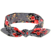 Baby Girl Floral Rabbit Ear Wide Turban Headband Head Wrap Knotted Hair Band
