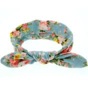 Baby Girl Floral Rabbit Ear Wide Turban Headband Head Wrap Knotted Hair Band