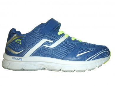 PRO TOUCH BOY'S ELEXIR 5 VELCRO RUNNING SHOES - BLUE/YELLOW/WHITE