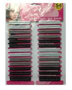 54 Pcs Ladies Girls Kids Hair Bands School Ponios Elastic Black, Browm or Blue Pack