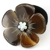 Elastic Scrunchy Real natural horn - Engraved clover with mother of pearl inlaid